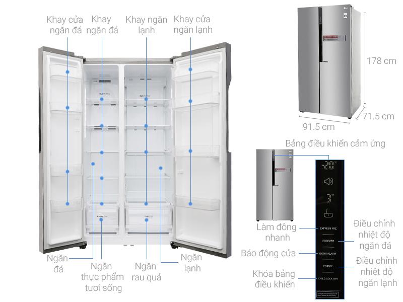 Tìm hiểu kích thước tủ lạnh side by side hiện nay